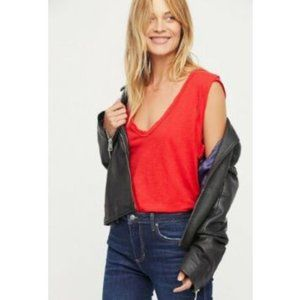 Free People Cleo V-Neck Red Slub Knit Tank Top M